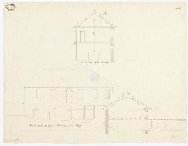 Kantonale Strafanstalt, projektierter Umbau des Klosters Oetenbach: Krankenhaus am Oetenbach; Ansicht und Schnitte