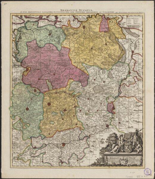Brabantiae ducatus in suas praefecturas eleganter distinctus, una cum finitimis regionibus, ac toparchiis