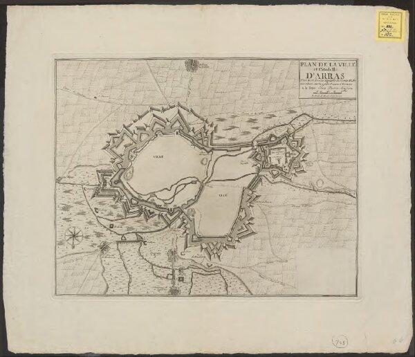 Plan de la ville et citadelle d'Arras: place forte Evêché capitalle du Comté d'Artois située sur la petite Piviere d'Escarpe
