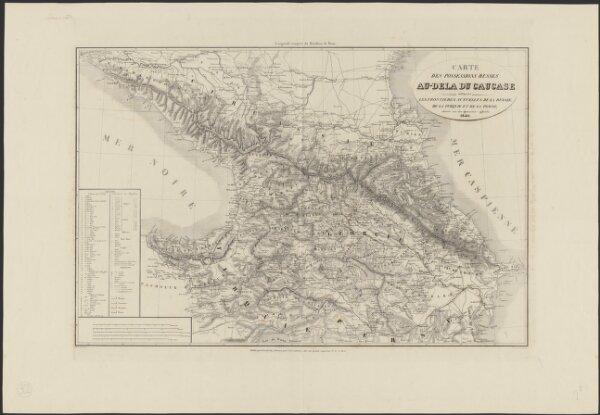 Carte des possessions russes au-delà du Caucase indiquant les frontières actuelles de la Russie, de la Turquie et de la Perse, dressée sur des documents officiels