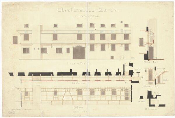 Kantonale Strafanstalt Oetenbach: Galerie; Ansicht, Grundriss und Schnitte