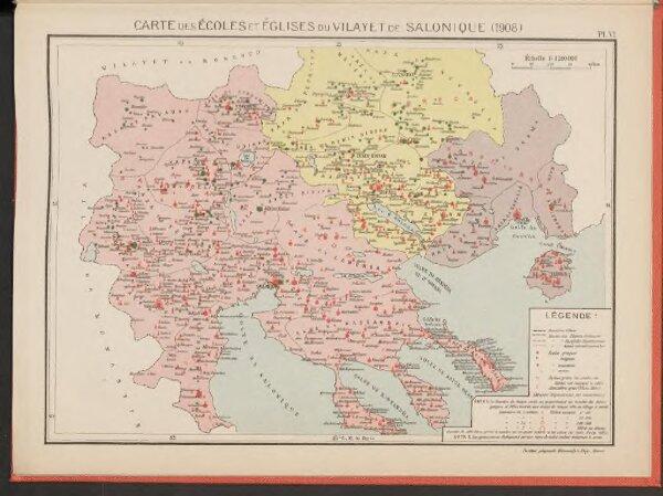 Carte des écoles et églises du vilayet de Salonique (1908)