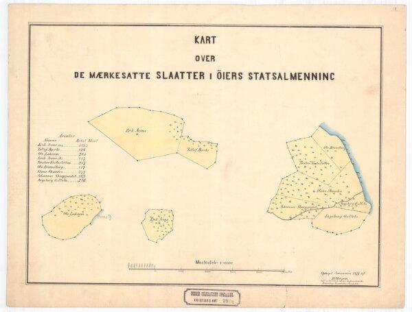Kristians-amt nr 20-18: Kart over de Mærkesatte Slaatter i Øiers Statsalmenning