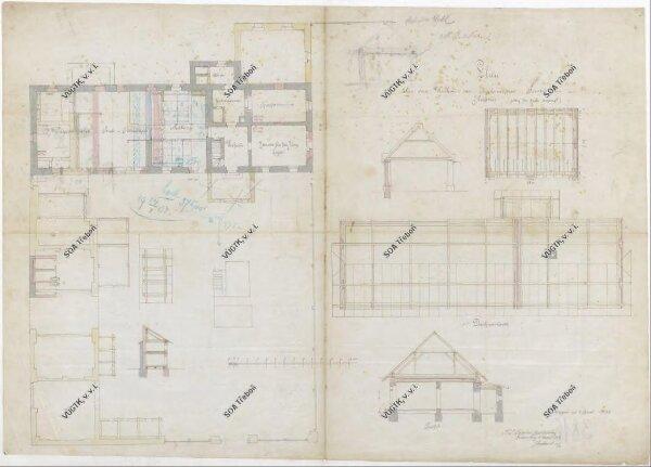 Plán na přestavbu bytu hájného ve  staré myslivně v Hrdlořezích 1