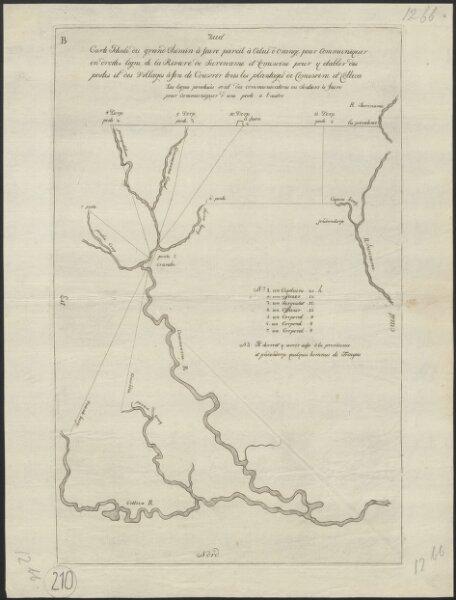 Carte idéale du grand chemin à faire pareil à celui d'Orange pour communiquer en droite ligne de la Rivière de Suriname et Comewine pour y etablir des postes et des villages à fin de couvrir tous les plantages de Comewine et Cottica
