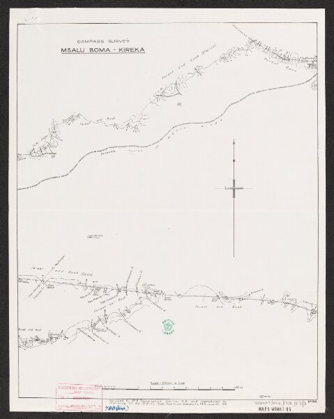 """Area between Rivers Zambesi & Ruvuma. Compass traverses  - War Office ledger. Lithographs. Printed by 1st. Printing Co. R.E. """"B"""" Army Section, 1918."""