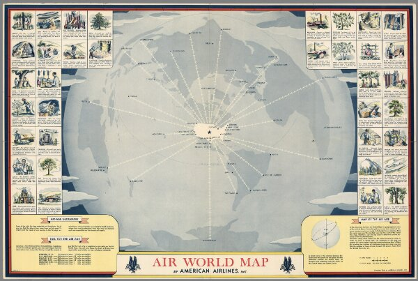 Air World map by American Airlines, Inc. Copyright 1944